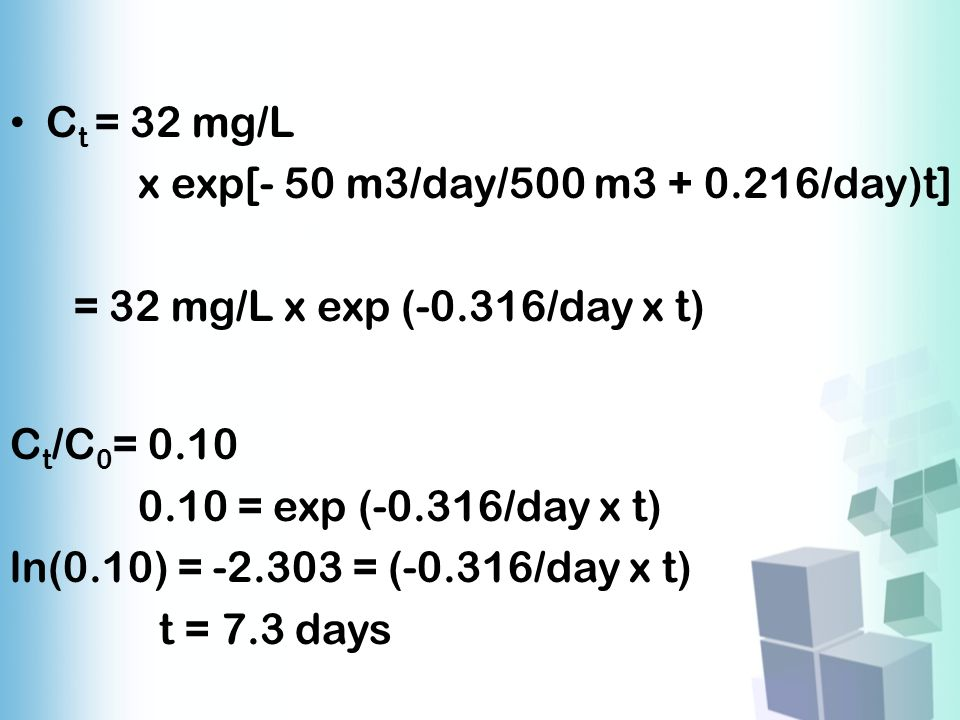 Ct = 32 mg/L x exp[- 50 m3/day/500 m3 + 0.216/day)t] = 32 mg/L x exp (-0.316/day x t) Ct/C0= 0.10.